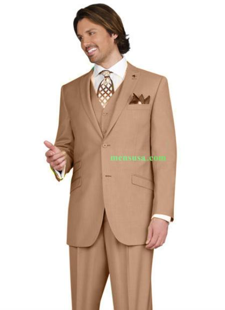 SKU#KA14504 Mens 2 button Peak Lapel Ticket pocket Pleated pants Taupe Color Suit $165