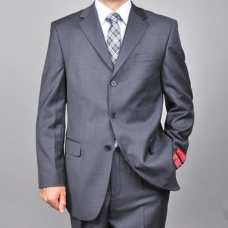 SKU#KA1507 Label 3-button Charcoal Grey Wool Suit $165