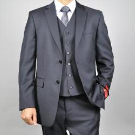 SKU#KA1508 Authentic Mantoni Brand Mens Black Vested Wool Suit
