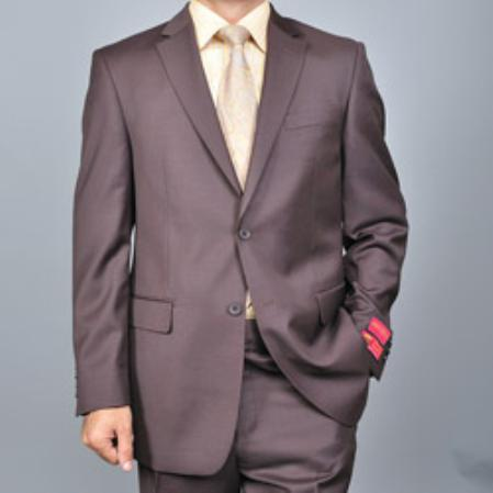 SKU#KA1511 Authentic Mantoni Brand Mens Brown Two-button Wool Suit