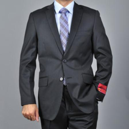 SKU#KA Mens Slim-fit Black Textured Wool 2-button Suit $165