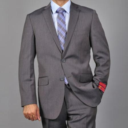 SKU#KA1514 Mens Slim-fit Grey Textured Wool 2-button Suit $165
