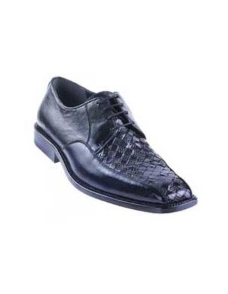 Black Basket Wave Genuine Lizard Shoes