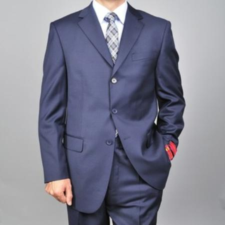 SKU#KA1431 Mens Navy 3-button Wool Suit $165