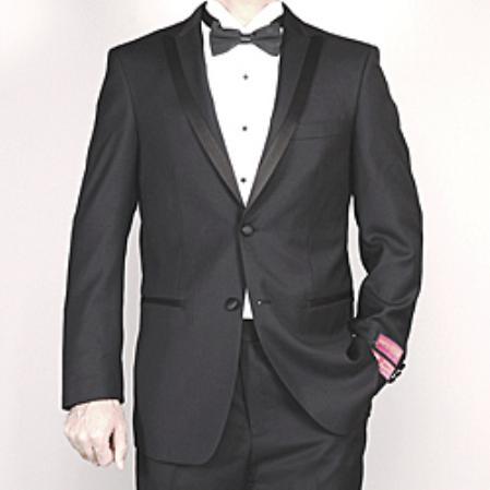 SKU#KA1432 Authentic Mantoni Brand Men's Black Wool Tuxedo