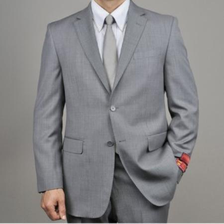SKU#KA1433 Mens Grey Birdseye Wool 2-button Suit $165