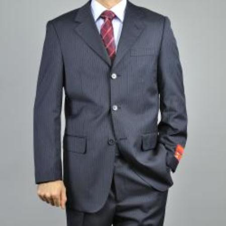 SKU#KA1434 Mens Charcoal Grey 3-Button Pinstripe Wool Suit $165