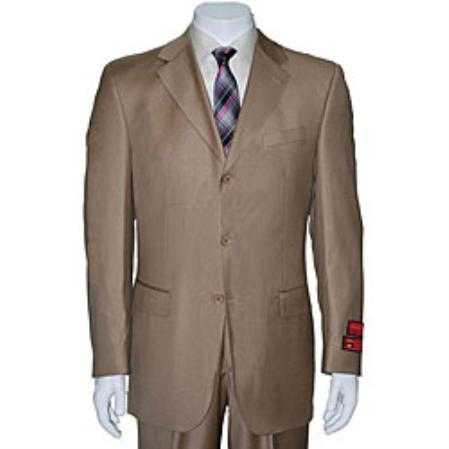 SKU#KA1435 Mens Taupe Three-button Wool Suit $165
