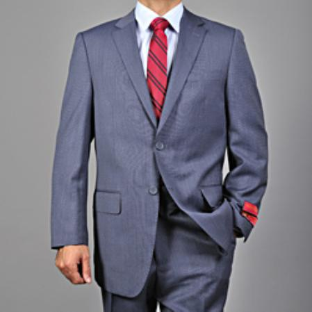 SKU#KA1436 Mens Textured Blue 2-button Wool Suit $165