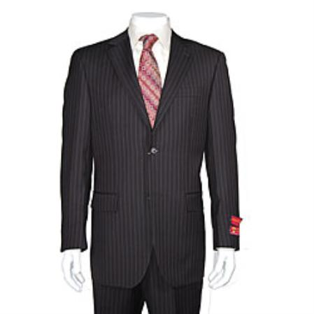 SKU#KA1438 Authentic Mantoni Brand Mens 2-button Dark Brown Striped Suit $175