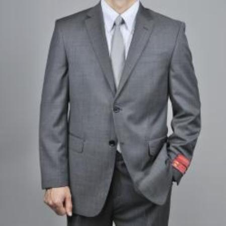 SKU#KA1439 Authentic Mantoni Brand Charcoal Gray 2-Button Wool Suit