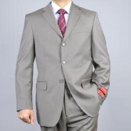 SKU#KA1530 Solid Taupe 3-Button Classic Fit Wool Suit $165