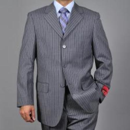 SKU#KA1531 Mens Striped Grey 3-button Wool Suit $275