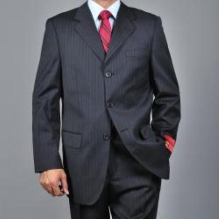 SKU#KA1532 Mens Striped Dark Charcoal Grey 3-button Wool Suit $275