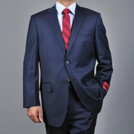 SKU#KA1533 Mens Striped Navy Blue 2-button Wool Suit $165