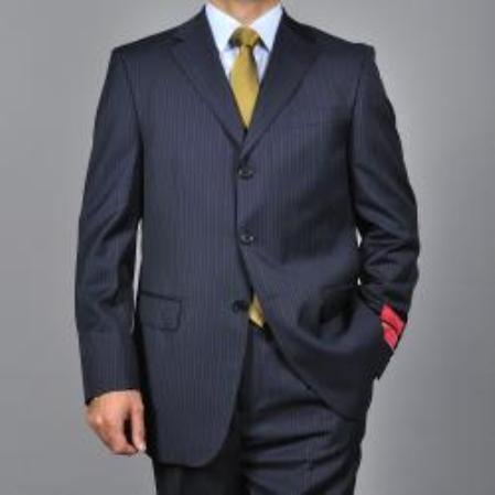 SKU#KA1534 Mens Striped Navy Blue 3-button Wool Suit $165