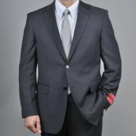 SKU#KA1535 Black 2-Button Wool Suit $165