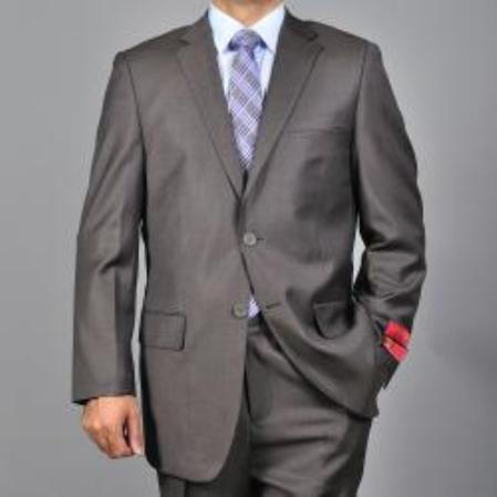 SKU#KA1536 Authentic Mantoni Brand Mens patterned Brown 2-button Wool Suit