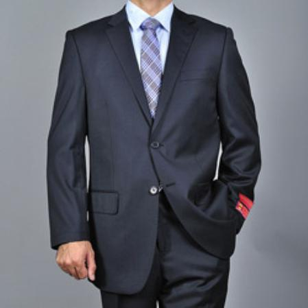 SKU#KA1537 Authentic Mantoni Brand Mens patterned Black 2-button Wool Suit