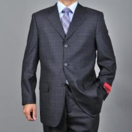 SKU#KA1540 Mens Charcoal Grey 3-button Wool Suit $165
