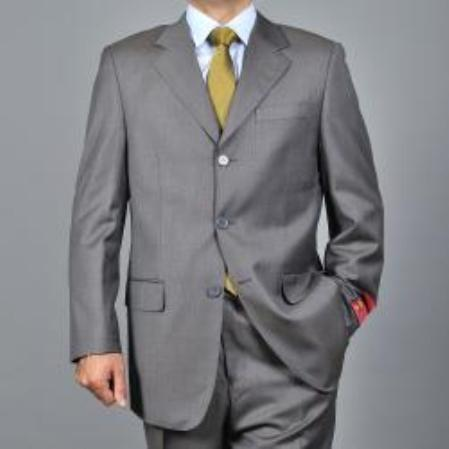 SKU#KA1541 Mens Windowpane 3-button Wool Suit $165