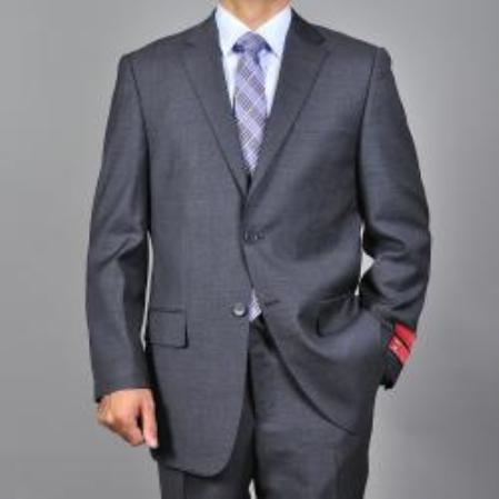 SKU#KA1542 Mens Textured Dark Grey 2-button Wool Suit $165
