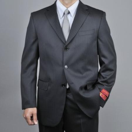 SKU#KA1545 Mens Black Tonal Stripe Wool 3-button Suit $165