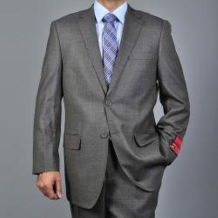 SKU#KA1549 Authentic Mantoni Brand Mens patterned Taupe 2-button Wool Suit