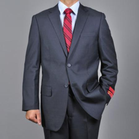 SKU#KA1550 Mens patterned Dark Grey 2-button Wool Suit $165