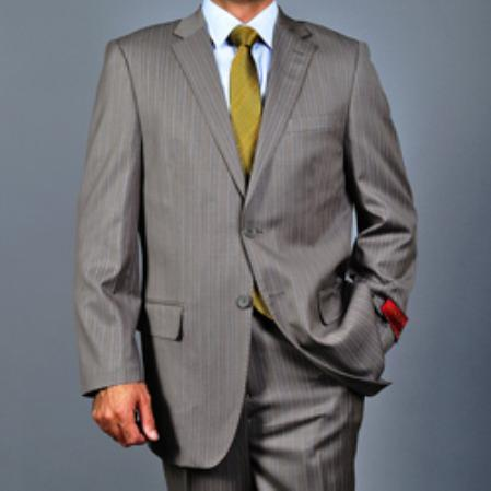 SKU#KA1551 Mens Striped Light Brown 2-button Wool Suit $165