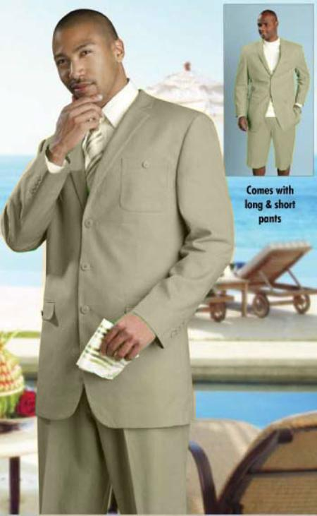 SKU#KA1552 Mens linen fabric Summer Suit Available Oatmeal $149