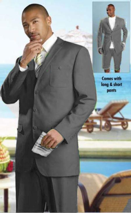 SKU#KA1552 Mens linen fabric Summer Suit Available Black $149