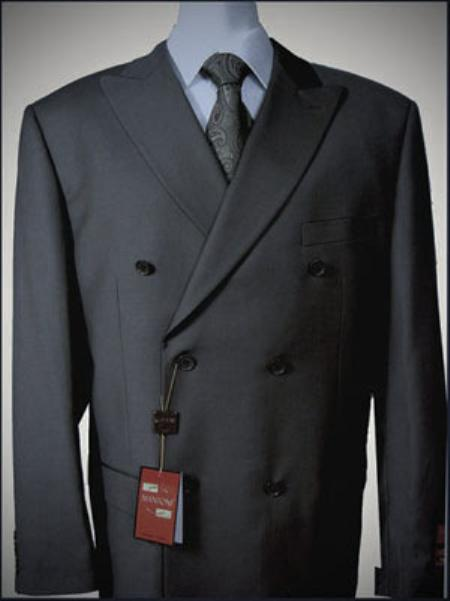 MensUSA.com Dark Grey Double breasted peak lapel wool falt front no pleated pants suit(Exchange only policy) at Sears.com