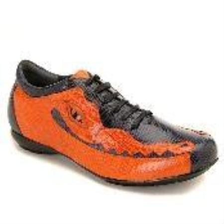 SKU#KA8392 Navy/Orange Lizard & Caiman Sneakers $700
