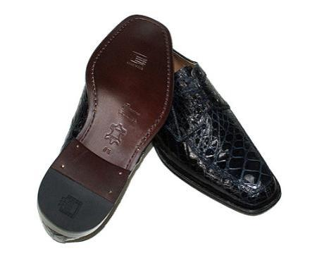 SKU#KA8537 Stylish Navy Crocodile Skin Shoes $299