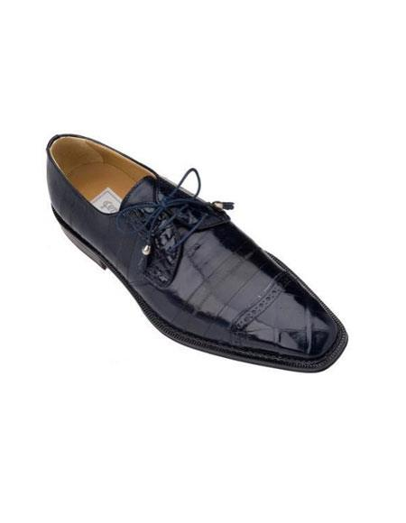 SKU#KA4803 Ferrini Navy Genuine Alligator/Eel Shoes $769