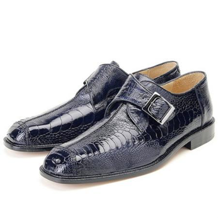 SKU#KA8956 Belvedere Men's Navy Genuine Ostrich Slip On ~ Loafer style $300