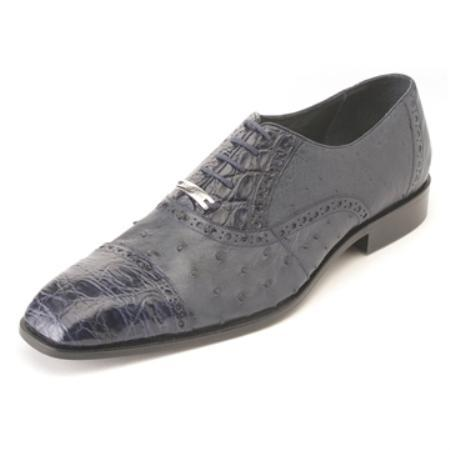 SKU#KA5630 Belvedere Men's Navy Ostrich & Crocodile ~ Alligator