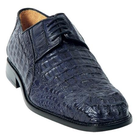 SKU#KA4565 Belvedere Men's Navy Genuine caiman ~ alligator $455