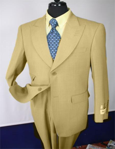 SKU#KA1125 Tan Mens Executive 100% Wool Suit Collection - Wide Leg Pants $750