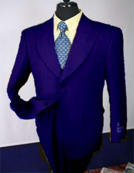 SKU#KA1126 Navy Mens Executive 100% Wool Suit Collection - Wide Leg Pants $750