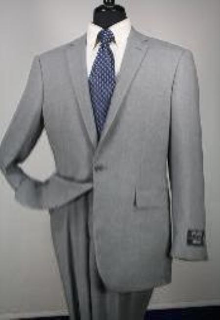 SKU#Ts24 1 Button Mens Executive 100% Wool Suit Collection Grey $195