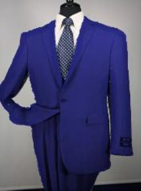 SKU#Ts24 1 Button Mens Executive 100% Wool Suit Collection Navy $195