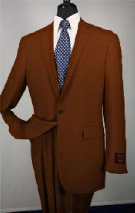 SKU#Ts24 1 Button Mens Executive 100% Wool Suit Collection Brown $195