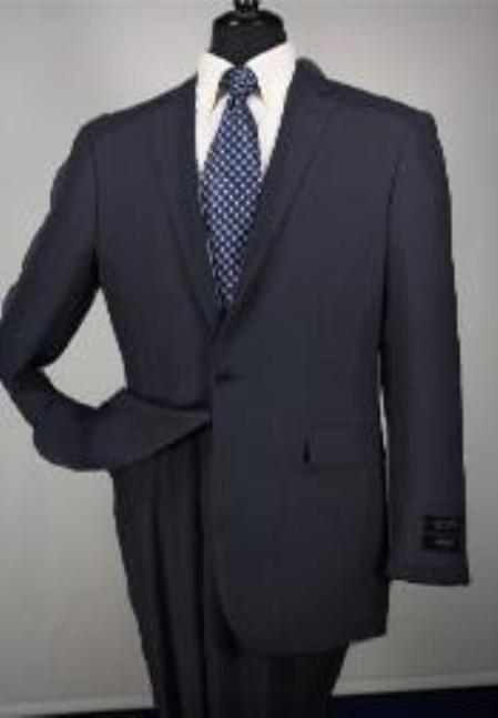SKU#Ts24 1 Button Mens Executive 100% Wool Suit Collection Black $195
