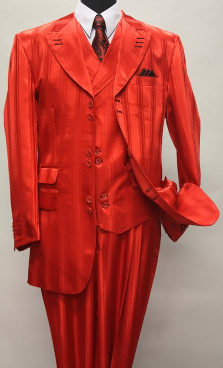 SKU#KA1139 RED SHADOW tone on tone PEAK LAPEL FASHION SUIT 3PC WITH VEST & WIDE LEG PANTS $159