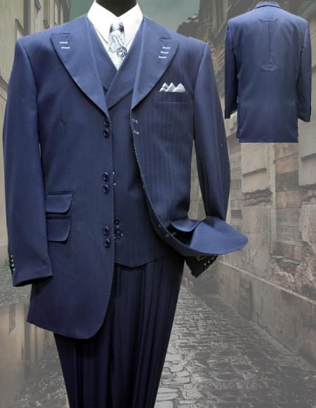 SKU#KA1146  INDIGO FASHION SUIT 3PC WITH VEST & WIDE LEG PANTS $210