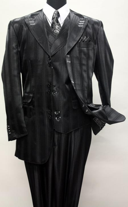 SKU#KA1149 BLACK FASHION SUIT 3PC WITH VEST & WIDE LEG PANTS $210