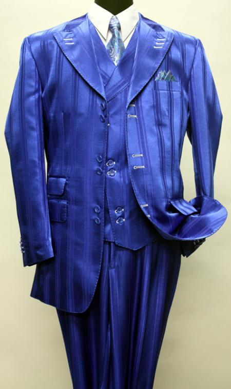 SKU#KA1150 ROYAL SHADOW TON ON TON PEAK LAPEL FASHION SUIT 3PC WITH VEST & WIDE LEG PANTS $175