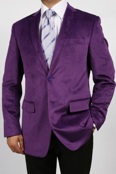 SKU#KA1154 Purple Luxurious Cotton/Rayon Blazer Highlights $139